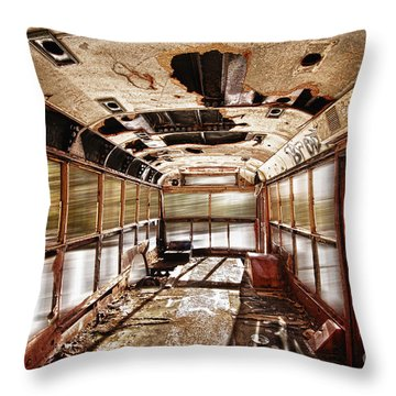 Old School Bus In Motion Hdr Throw Pillow by James BO  Insogna