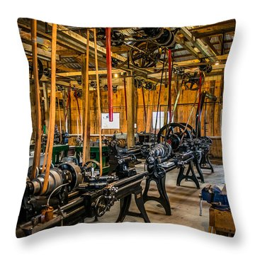 Old School Machine Shop Throw Pillow