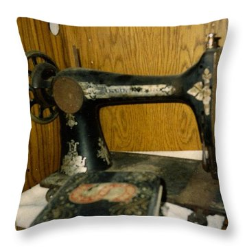 Old Sewing Machine Throw Pillow by Amazing Photographs AKA Christian Wilson