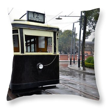 Old Shanghai Trolley Tram Car Rests In Tracks Throw Pillow by Imran Ahmed