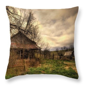 Old Shed And Barn At Osage Throw Pillow