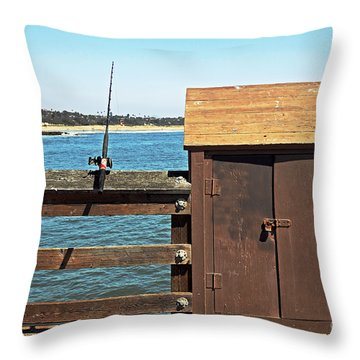 Throw Pillow featuring the photograph Old Shed On Ventura Pier by Susan Wiedmann