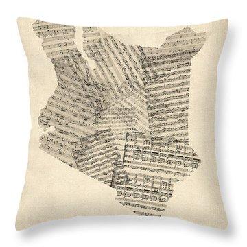Old Sheet Music Map Of Kenya Map Throw Pillow
