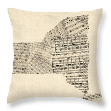 Old Sheet Music Map Of New York State Throw Pillow by Michael Tompsett