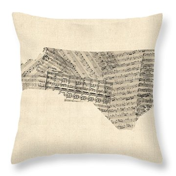 Old Sheet Music Map Of North Carolina Throw Pillow