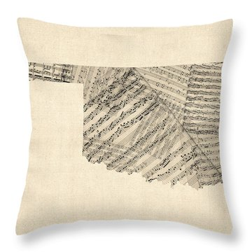 Old Sheet Music Map Of Oklahoma Throw Pillow