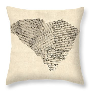 Old Sheet Music Map Of South Carolina Throw Pillow