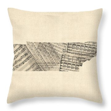 Old Sheet Music Map Of Tennessee Throw Pillow