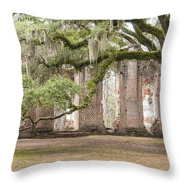 Old Sheldon Church - Bent Oak Throw Pillow