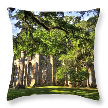 Old Sheldon Church Ruins Throw Pillow by Reid Callaway