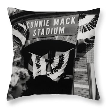 Old Shibe Park - Connie Mack Stadium Throw Pillow by Bill Cannon