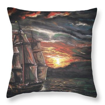 Old Ship Of The Sea Throw Pillow