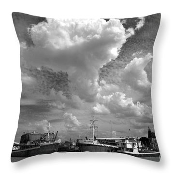 Old Ships Throw Pillow by Bernardo Galmarini