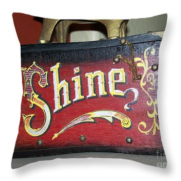 Old Shoe Shine Kit Throw Pillow by Pamela Walrath