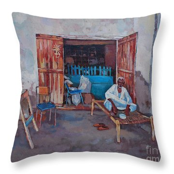 Old Shop Suakin Throw Pillow by Mohamed Fadul