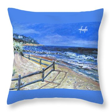 Throw Pillow featuring the painting Old Silver Beach by Rita Brown