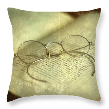 Old Silver Spectacles And Book Throw Pillow by Suzanne Powers