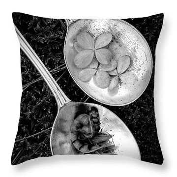 Old Silver Spoons Throw Pillow by Edward Fielding