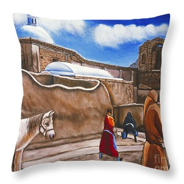 Old Spanish Church Throw Pillow by William Cain