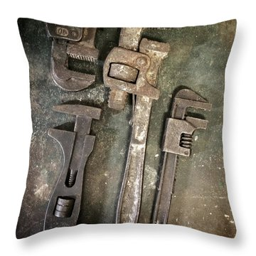 Old Spanners Throw Pillow by Carlos Caetano