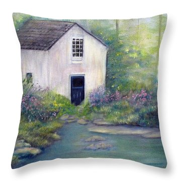 Old Springhouse Throw Pillow by Loretta Luglio