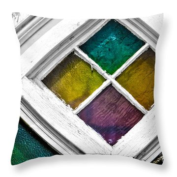 Old Stained Glass Windows Throw Pillow
