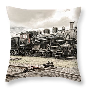 Throw Pillow featuring the photograph Old Steam Locomotive No. 97 - Made In America by Gary Heller
