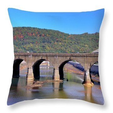 Old Stone Bridge - Johnstown Pa Throw Pillow