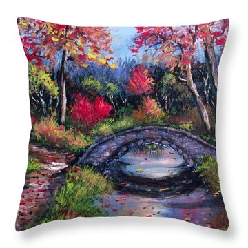 Old Stone Bridge Throw Pillow