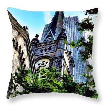 Throw Pillow featuring the photograph Old Stone Church - Cleveland Ohio - 1 by Mark Madere
