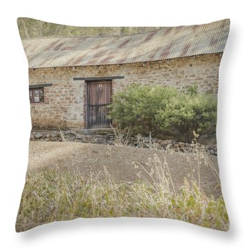 Old Stone Cottage Throw Pillow