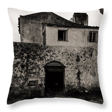 Old Stone House And Wall  Throw Pillow