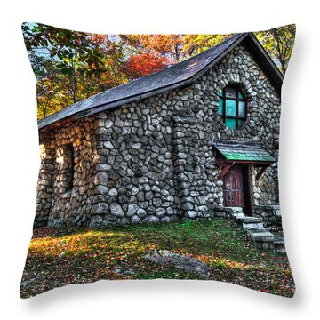 Old Stone Lodge Throw Pillow