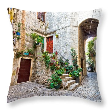 Old Stone Street Of Trogir Throw Pillow by Brch Photography