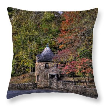 Throw Pillow featuring the photograph Old Stone Tower At The Edge Of The Forest by Jonny D