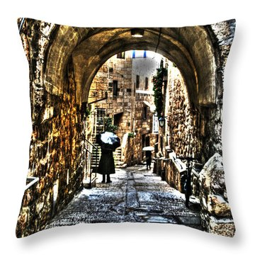 Throw Pillow featuring the photograph Old Street In Jerusalem by Doc Braham