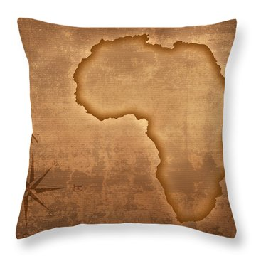 Old Style Africa Map Throw Pillow