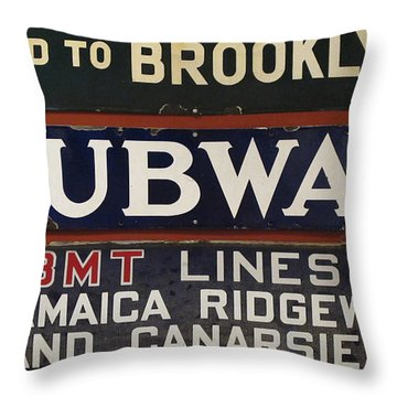 Old Subway Signs Throw Pillow by Dave Mills