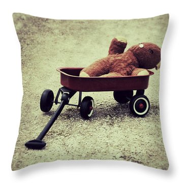 Old Teddy Bear In Red Wagon Throw Pillow