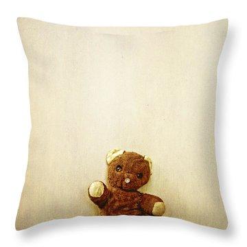 Old Teddy Bear Sitting On Stool Throw Pillow by Birgit Tyrrell