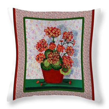Old Time Geraniums Throw Pillow by Barbara Griffin