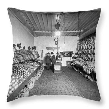 Old Time Grocery Store Throw Pillow by Underwood Archives