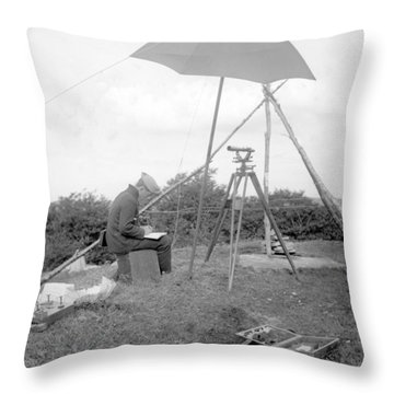 Old Time Surveyor Throw Pillow
