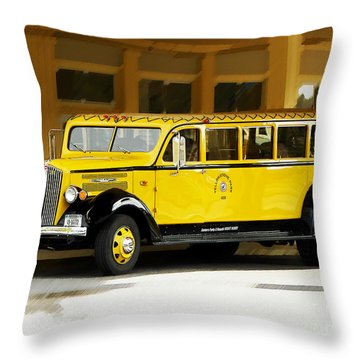 Throw Pillow featuring the photograph Old Time Yellowstone Bus by David Lawson