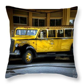 Old Time Yellowstone Bus II Throw Pillow