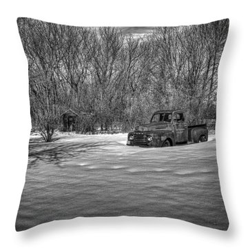 Old Timer In The Snow Throw Pillow