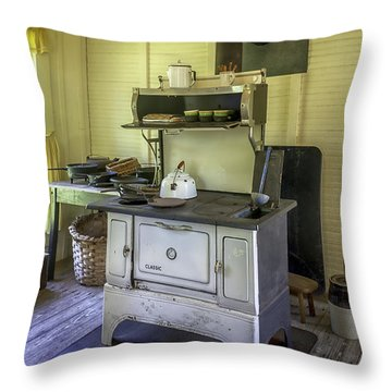 Old Timey Stove Throw Pillow by Lynn Palmer