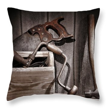 Old Tools Throw Pillow by Olivier Le Queinec