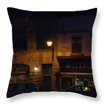 Old Town At Night Throw Pillow by Cheryl Baxter