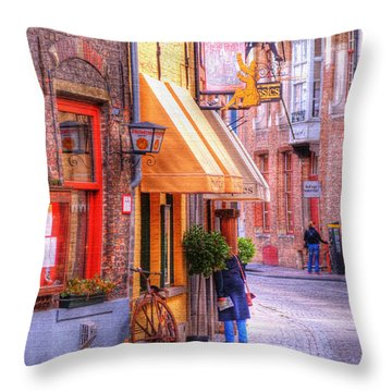 Old Town Bruges Belgium Throw Pillow by Juli Scalzi